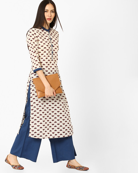 Printed Kurta With Mandarin Collar By AJIO ( Indigo )