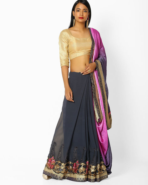 Embroidered Saree With Contrast Border By Majestic Silk ( Grey )