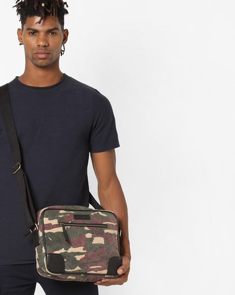 Camouflage Print Canvas Crossbody Bag By JUSTANNED ( Multi )