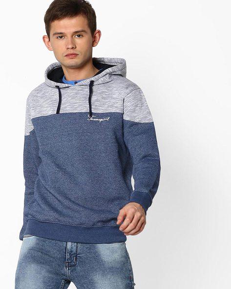 Cut & Sew Sweatshirt With Hoodie By TEAM SPIRIT ( Navy )