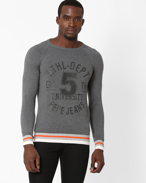 Regular Fit Pullover With Raglan Sleeves By Pepe Jeans ( Grey )