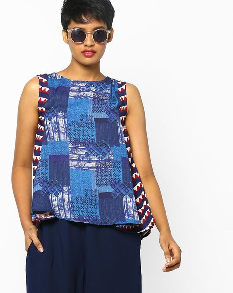 High-Low Printed Top With Contrast Panels By Project Eve IW Fusion ( Blue )