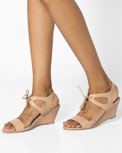 Open-Toe Lace-Up Wedges By AJIO ( Tan )