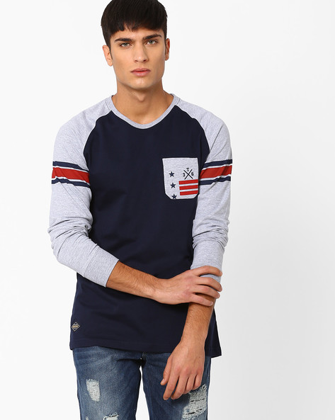 Crew Neck T-shirt With Raglan Sleeves By TEAM SPIRIT ( Blue )