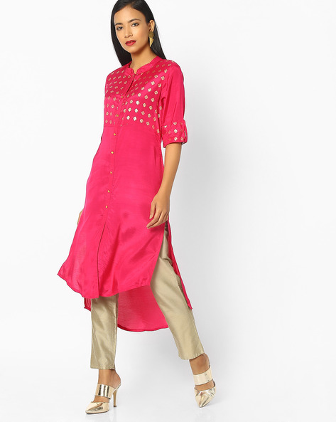 High-Low Kurta With Button Placket By AVAASA MIX N' MATCH ( Magntafusha )