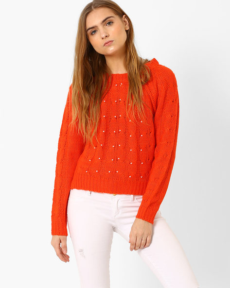 Patterned Knit Sweater With Tie-Up Detail By RIO ( Orange )