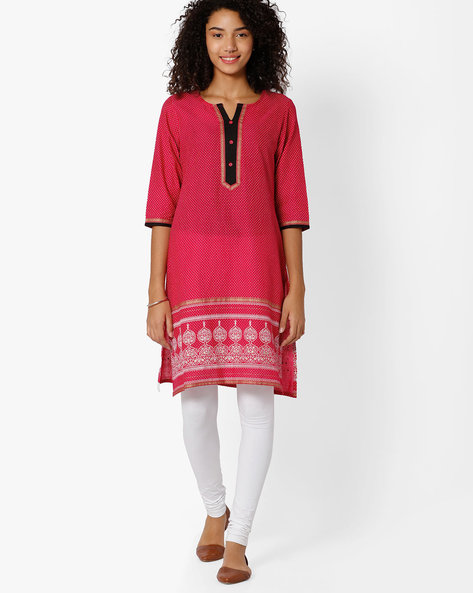 Polka-Dot Print Straight Kurta By AVAASA MIX N' MATCH ( Magntafusha )