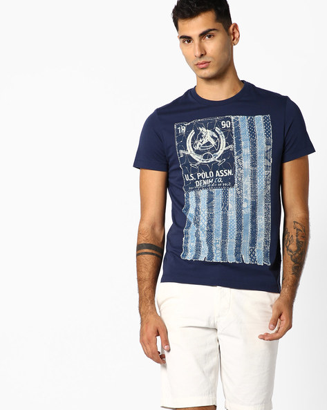 Printed Crew-Neck T-shirt By US POLO ( Blue )