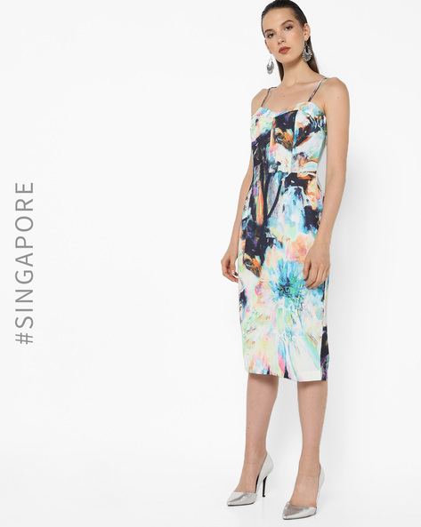 Strappy Printed Dress With Slit By MDS ( Multi )