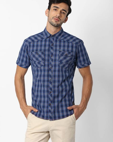 Checked Shirt With Short Sleeves By DNM X ( Navy )