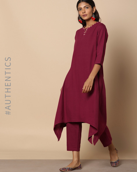 Straight Kurta With Dipped Hemline By Project Eve IW Evening ( Maroon )