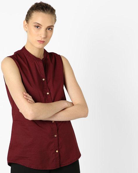 Printed Sleeveless Shirt By AJIO ( Red )