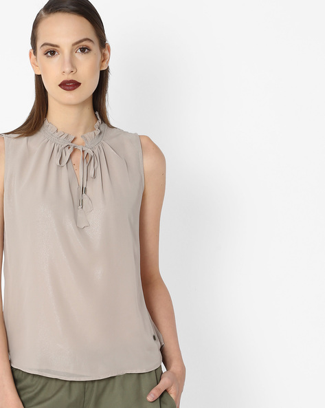 Top With Ruffled Neckline By Pepe Jeans ( Beige )