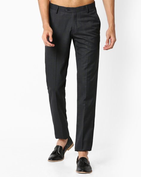 Slim Fit Checked Trousers By VIMAL APPARELS ( Grey )