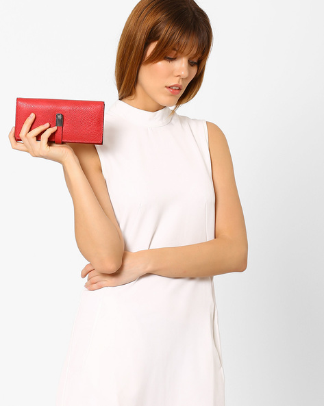 Textured Bi-Fold Wallet By Lino Perros ( Red )