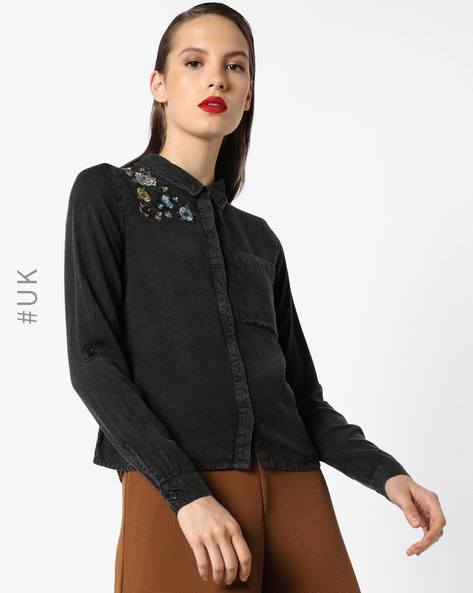 Top With Embroidery & Roll-Tabs By INFLUENCE ( Black )