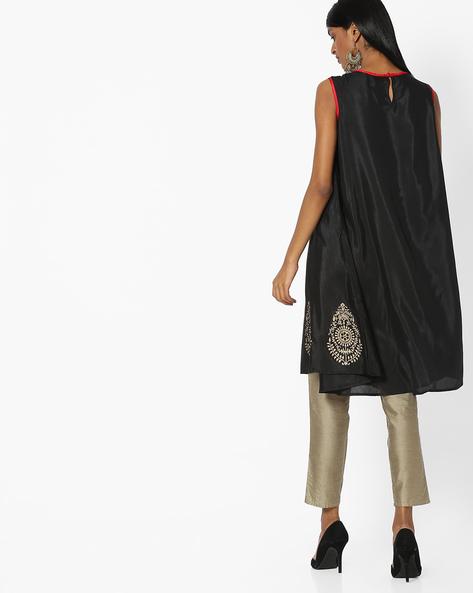 Sleeveless Flared Kurta By Indian Ink ( Black )
