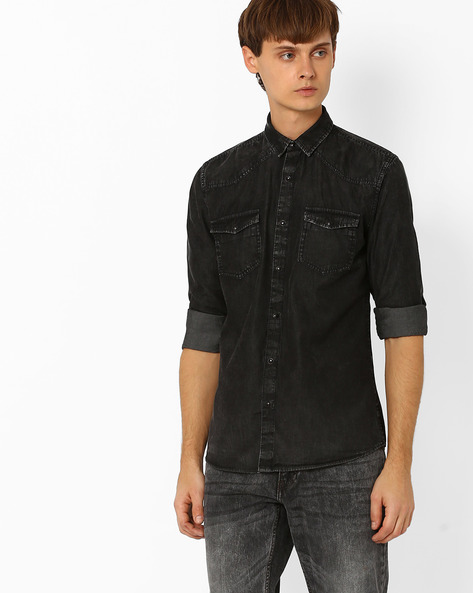 Slim Fit Washed Denim Shirt By ADAMO LONDON ( Indigo )