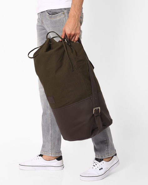 Barrel Bag With Drawstring Closure By FAMOZI ( Olive )
