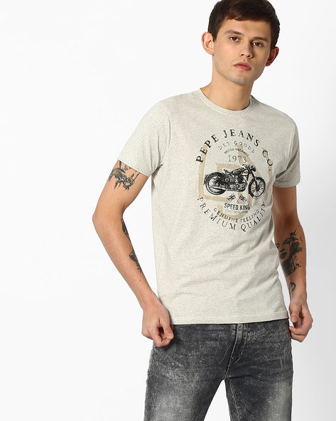 Slim Fit Printed Crew-Neck T-shirt By Pepe Jeans ( Ecru )