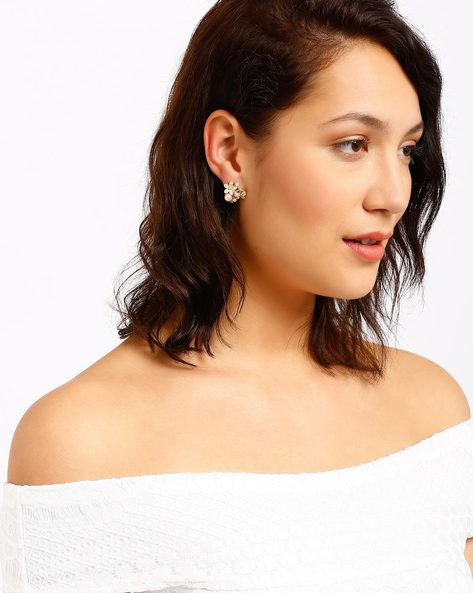 Cluster Stud Earrings By AJIO ( Gold )