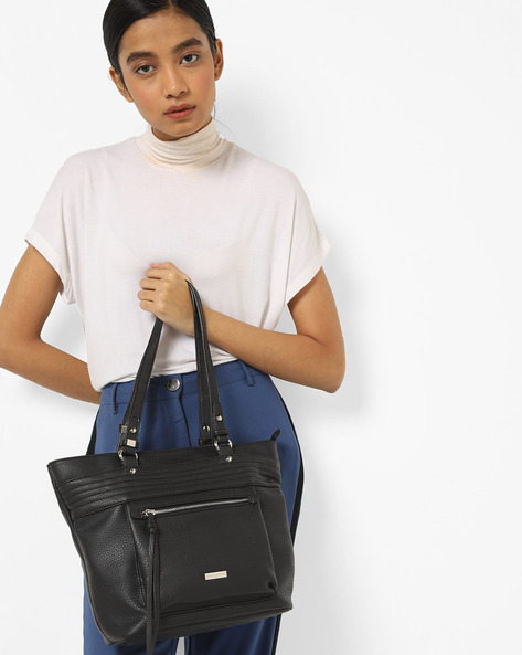 Textured Tote Bag With Zip Pocket By Lino Perros ( Black )