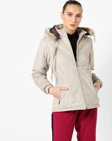 Hooded Quilted Jacket By Fort Collins ( Khaki )