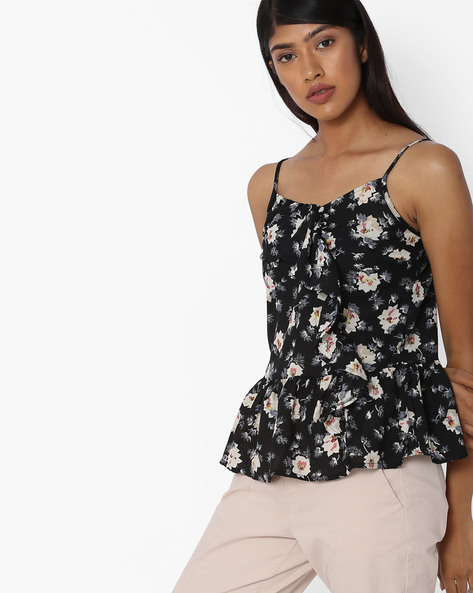 Floral Print Strappy Top With Ruffles By Oxolloxo ( Multi ) - 460119235001