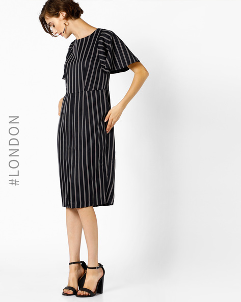 Striped Dress With Bell Sleeves By Closet London ( Navy )