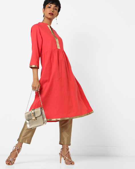Flared Kurta With Mandarin Collar By Melange By Lifestyle ( Pink )