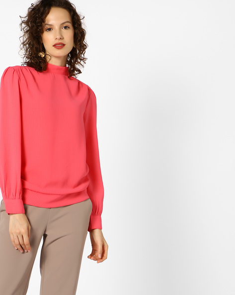Textured Blouson Top With Back Sash Tie-Up By AJIO ( Coral )