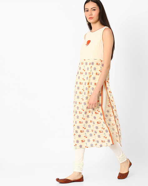 Sleeveless Printed Kurta By AJIO ( Offwhite )
