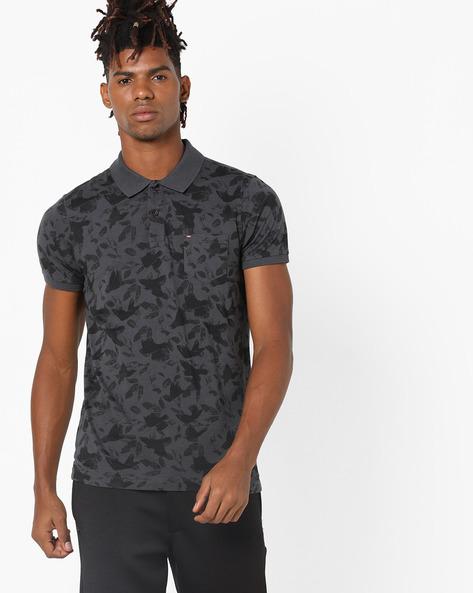 Tropical Print Polo T-shirt By SPYKAR ( Grey )