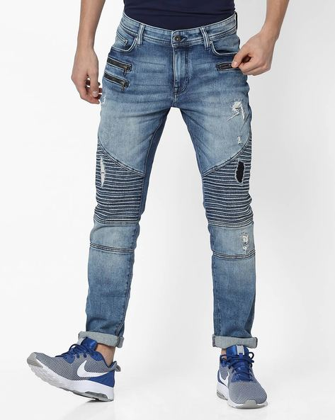 Panelled Slim Fit Jeans With Distressing By Celio ( Blue )