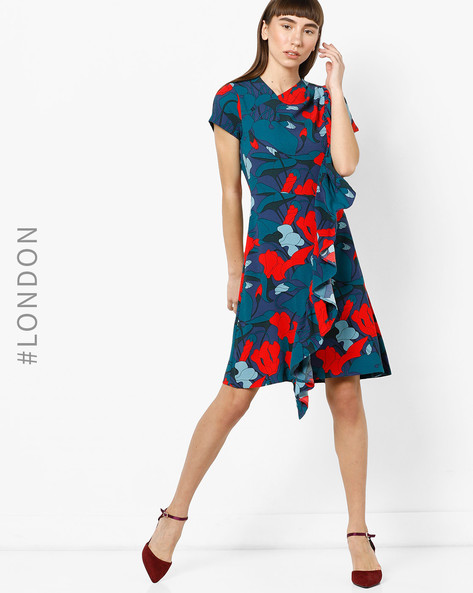 Tropical Print Dress With Frills By Closet London ( Multi )