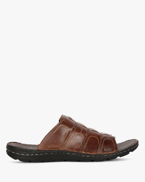 Genuine Leather Strappy Slippers By RED TAPE ( Brown )