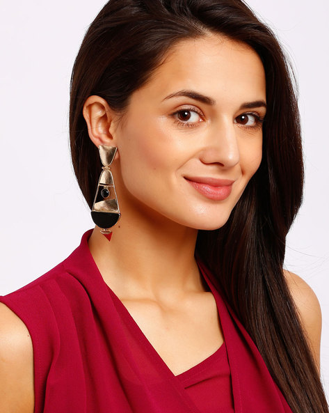 Gold-Plated Drop Earrings By Ssoul ( Black ) - 460008517003