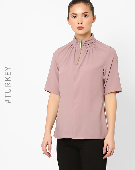 High-Neck Top With Zipper By Closet London ( Lilac )