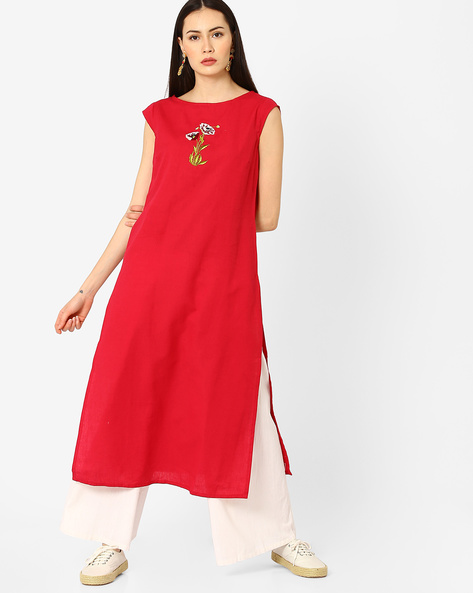 Cotton Kurta With Chest Embroidery By AJIO ( Red )