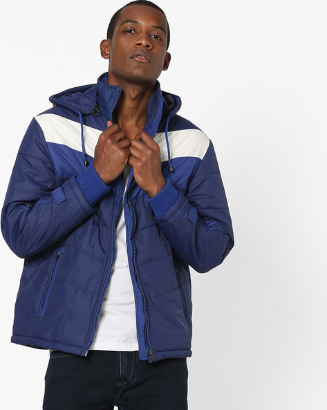 Quilted Jacket With Hood By Fort Collins ( Navy )