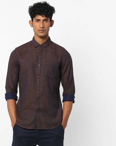 Textured Shirt With Curved Hemline By AJIO ( Darkgrey )