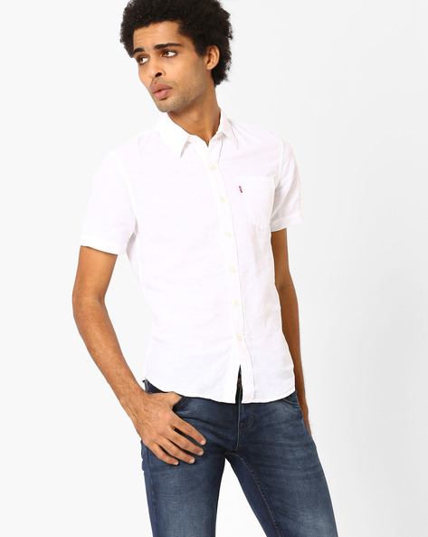 Half-Sleeve Cotton Shirt By LEVIS ( White )
