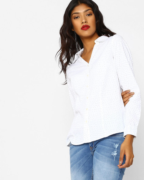 Ditsy Print Shirt With Curved Hem By FIG ( White )