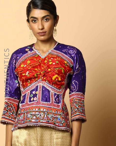 Kutch Embroidered Backless Blouse By Indie Picks ( Multi ) - 460103658001