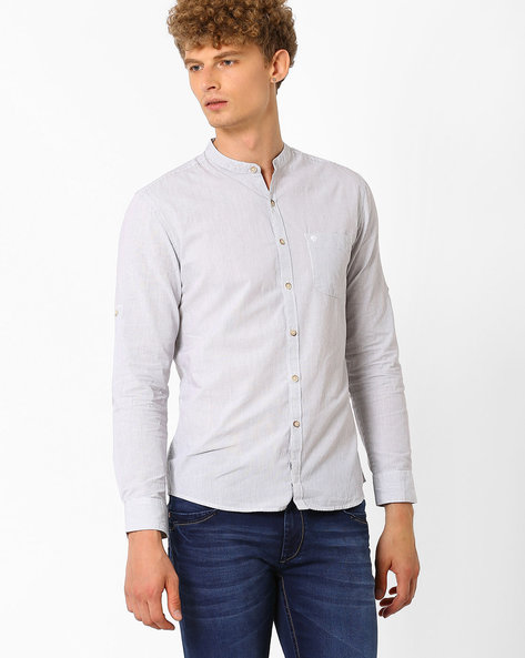 Slim Fit Shirt With Self-Design By NETPLAY ( Medgrey )