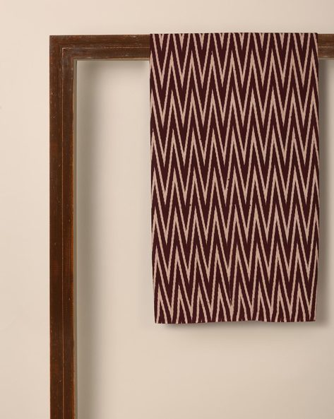 Kalamkari Chevron Print Cotton Kurta Fabric By Indie Picks ( Maroon )