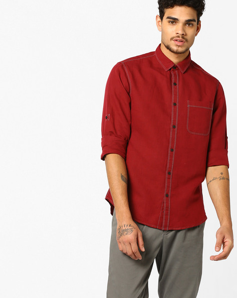 Cotton Linen Shirt With Contrast Stitch By AJIO ( Rust )