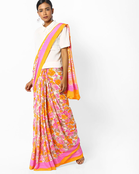 Floral Print Saree With Contrast Border By Majestic Silk ( Pink )