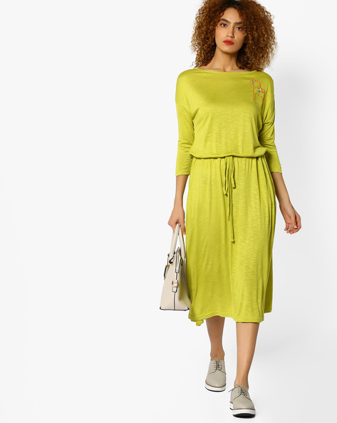 Knit Dress With Placement Embroidery By AJIO ( Limegreen )