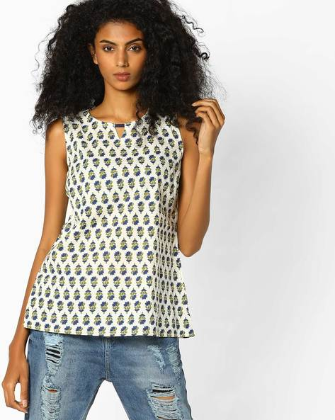 Printed Top With Keyhole Neckline By AJIO ( Blue )